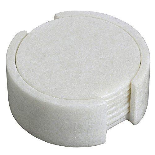 Weißer Tee Regen (Sechs Tee-Coater und Inhaber eines festgelegt. Weißer Marmor Stein; Handarbeit von Handwerker, Runde)