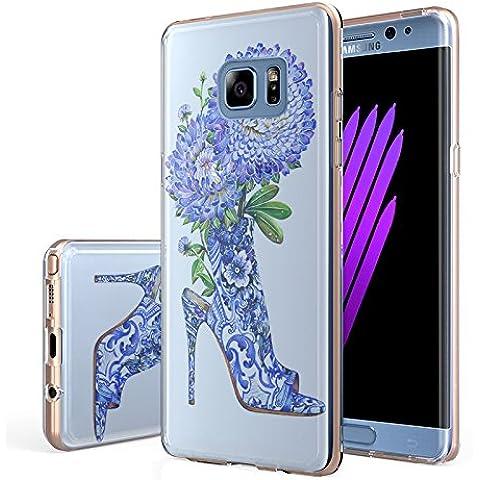 V. punto Samsung Galaxy Note 7Custodia, in silicone trasparente, sottile trasparente in Gel Morbido TPU Custodia in silicone Cover con motivo tacco alto blu per SAMSUNG NOTE 7Custodia (5.7), Blue High Heel