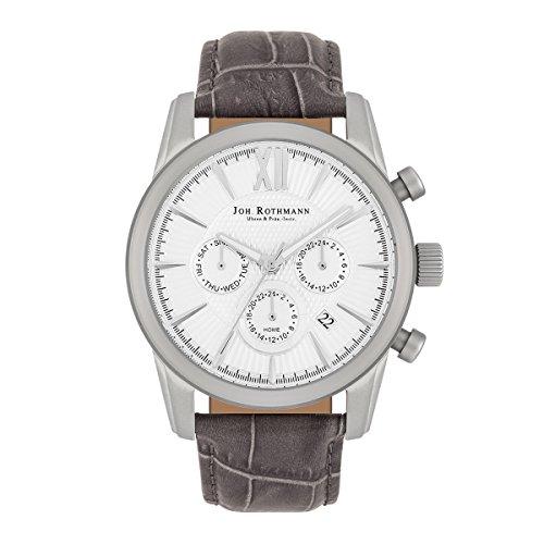 Joh. Rothmann Halvor Herren-Uhr Multifunktion 5 ATM silber Echtleder-Armband grau 10030144