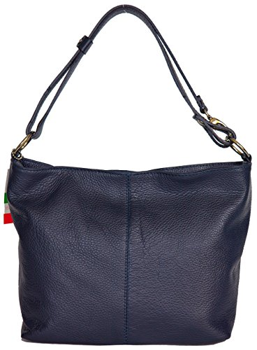 Sac Femme Cuir Grainé Italien porté bandoulière porté épaule 'Rafaela' ANCIEN PRIX 80,00 EUR (BLEU MARINE)