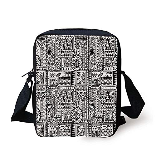 Doodle,Ethnic Design with Some Geometrical Shapes with Leaves and Dots African Culture Decorative,Black White Print Kids Crossbody Messenger Bag Purse -