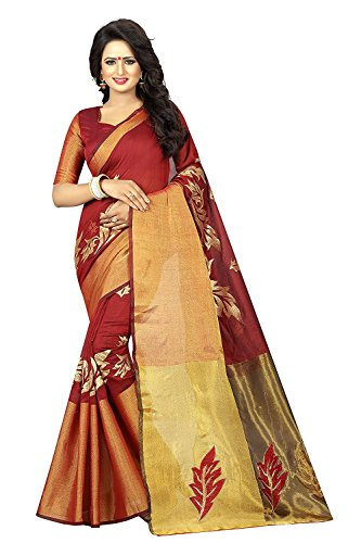 Fashion Dream Women's Georgette Maroon Color saree With Blouse Piece