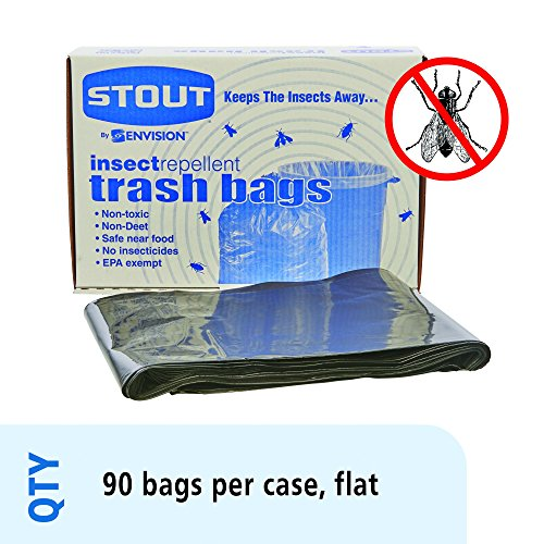 Stout Insect-Repellent Trash Bags, with Pest-Guard, 30 Gallons, 2 Milliliters, 33 x 40, Black, 90/Carton (P3340K20) by Stout -
