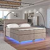 Moebel89 Boxspringbett Amadeo in Beige mit LED, Farbe wie abgebildet 180cm x 200cm/Bett, Doppelbett, Hotelbett, Gästebett als Boxspringbett mit Federkern mit Schaumpolsterung