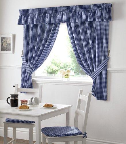Ideal Textiles Carreaux Vichy Galette De Chaise De Cuisine Salle A Manger Coussins De Chaise 40 6 X 40 6 Cm Bleu Blanc A Carreaux
