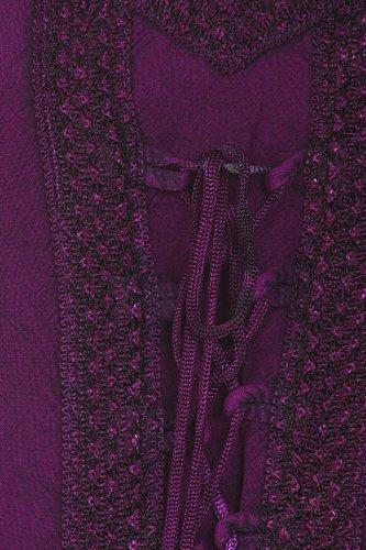 Sakkas robe en rayonne Jayanti brodée Pourpre