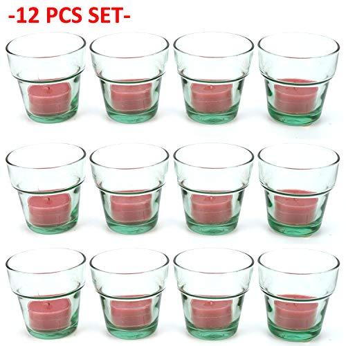 ng Klarglas Blumentopf 12 Stück - grün getönt Vase Votivkerzenhalter Tasse Austerntee ()
