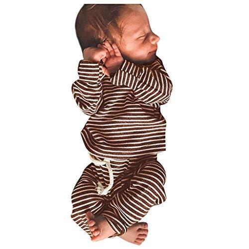 LILIGOD Kleinkind Baby Jungen Mädchen Schlafanzüge Langarm Gestreifte Tops + Hosen Nachtwäsche Outfits Mode Baumwolle Zweiteiliger Pyjama Weich Bequem Sleepwear -