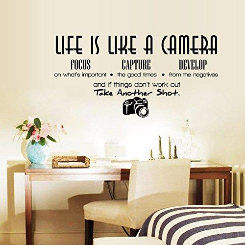 Monochrome Wandaufkleber Plattformaufkleber Das Leben ist wie eine Kamera Englisch LM062 28,3 * 56cm - Das Ist Kamera Leben Wie Eine
