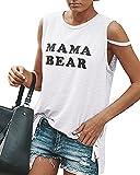 Pxmoda Frauen Graphic T Shirts Lustige Tees Rundhalsausschnitt ärmellose Workout Tank Tops (S, Weiß-1)