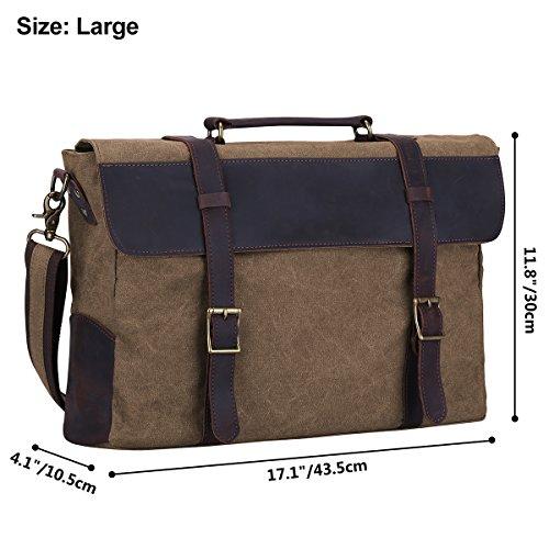 S-ZONE Sacchetto di cuoio della borsa del computer portatile della borsa della borsa da viaggio del messaggero dell'uomo di (grande-cachi) Marrone