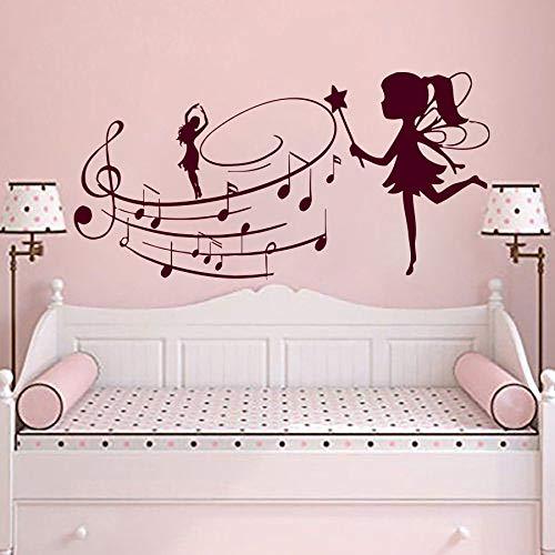 tattoos Fee Mit Musik Hinweis Wandaufkleber Kinderzimmer Schlafzimmer Mädchen Kunst Wandbild Fee Mädchen Stil Wandkunst Dekor A 114x57 cm ()