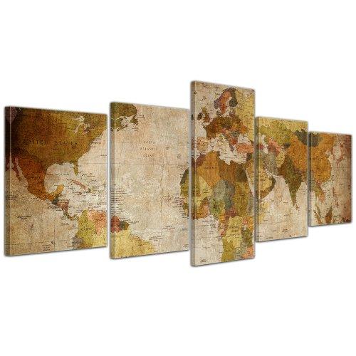 Wandbild - Weltkarte Retro - Bild auf Leinwand 200x80 cm 5 teilig - Leinwandbilder Bilder als Leinwanddruck Landkarte im Vintage-Stil