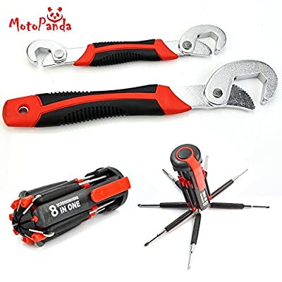 MotoPanda Perfect Combo of Multi-utility tools - 2pc Set of ORIGINAL Universal Wrench + Multi-function Screwdriver Kit with 6 LED light Torch