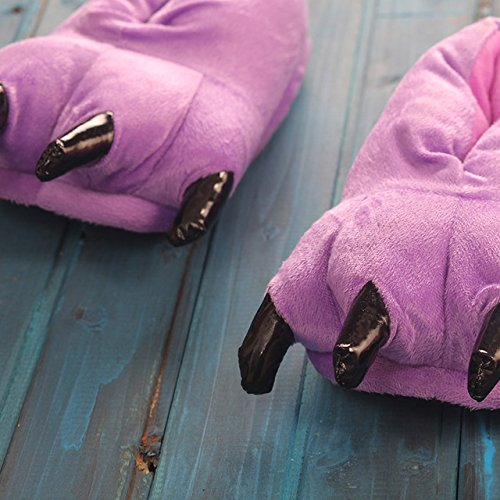 LEPAKSHI purple, 6.5 : New Paw Slippers Funny Animal Slippers for men and women Winter Monster Claw Plush Home slipper soft indoor floor shoes pantufa