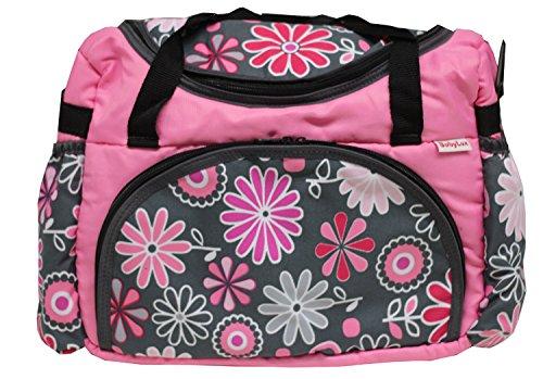 BABYLUX Wickeltasche Kinderwagentasche mit Wickelunterlage Gänseblümchen (29. Gänseblümchen Grün) 28. Gänseblümchen Rosa