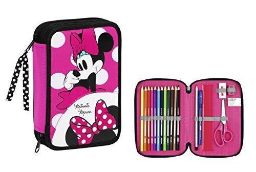 Minnie – Plumier doble pequeño, 34 piezas (Safta 411513054)