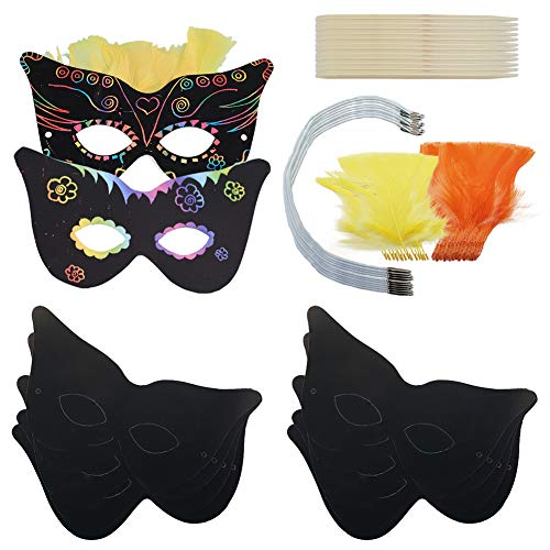 cratch Masken, Art Rainbow Scratch Paper Masken & Feather Art Augenmasken Gesichtsmasken mit Löchern Kleid Up Kostüm Party Geburtstag Party Gastgeschenke Kinder Basteln ()
