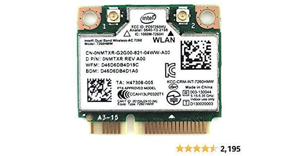 Intel Wireless-N 7260 (7260HMW AN) Intel® Dual Band Wireless-N 7260 Plus Bluetooth 4.0