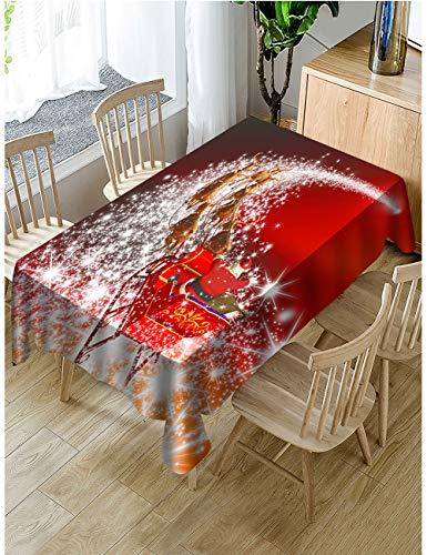 Muuyi Tischdecke, Weihnachtsstoff, wasserdicht, auslaufsicher, Polyestergewebe, Tischdecke für Küche, Essen, Tischdekoration, Café, Restaurant (rechteckig) W60×L84 Christmas 04