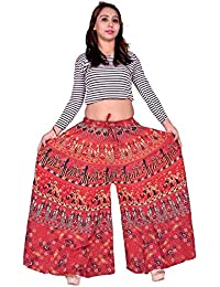 MRV MACY FASHION Women's Cotton Printed Palazzo (Assorted Colour And Assorted Design) (Red, Free Size)