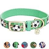 Blueberry Pet Sport Fan Fußball Designer Hundehalsband in Frühlings-Grün, M, Hals 33cm-42cm