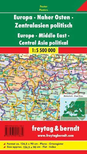 Freytag Berndt Karten, Europa - Naher Osten - Zentralasien politisch, plano in Rolle - Maßstab 1:5.500.000
