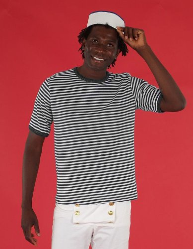 Ringel T-Shirt für Herren in Gr. 7 schwarz/weiß geringelt Matrose Sträfling