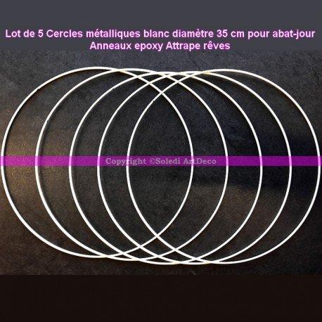 Lot de 5 Cercles métalliques blanc diamètre 35 cm pour abat-jour, Anneaux epoxy Attrape rêves