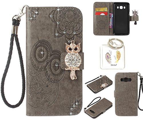 für Samsung Galaxy J5(2016)/J510 PU Diamant Strass Niedlich Eule Leder Silikon Schutzhülle Handy case Book Style Portemonnaie Design für Samsung Galaxy J5(2016)/J510 + Schlüsselanhänger ( ZAQ1) (4)
