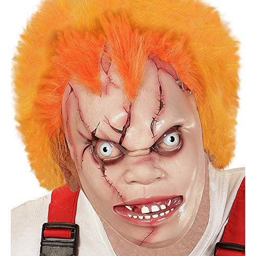 Widmann 00364 Halbmaske Killerpuppe mit Haar, Mehrfarbig