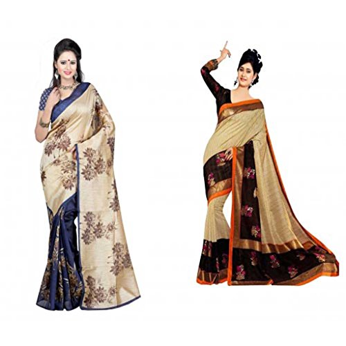Manisha Sarees Printed Fashion Exclusive Latest Stylish Fancy Multi Color Bhagalpuri Silk Sarees With Blouse Piece