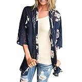 Vovotrade Neue Frauen Sommer Spitze Chiffon Kimono Cardigan Plus Größe Schal Blusen (Size:L, Blau)
