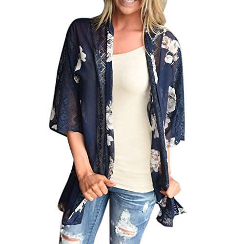 Vovotrade Neue Frauen Sommer Spitze Chiffon Kimono Cardigan Plus Größe Schal Blusen (Size:M, Blau) (Bluse Spitze Kimono)