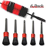 YISHARRY LI - Juego de cepillos de Limpieza para Ruedas de Coche (cerdas Suaves de 45 cm de Largo, Cepillo para neumáticos y 5 cepillos de Detalles de Pelo de jabalí de Diferentes tamaños)