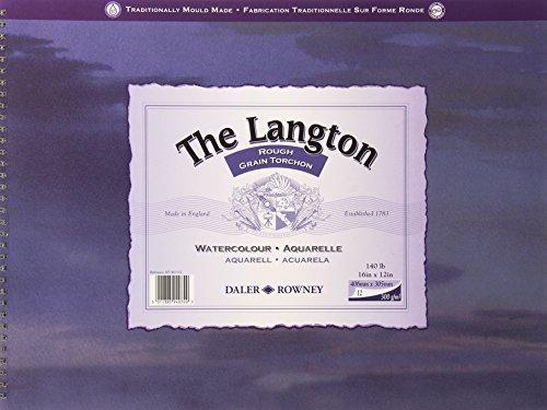 Daler Rowney Langton - Paquete de 12 hojas de papel para acuarelas (406 x 305 mm)