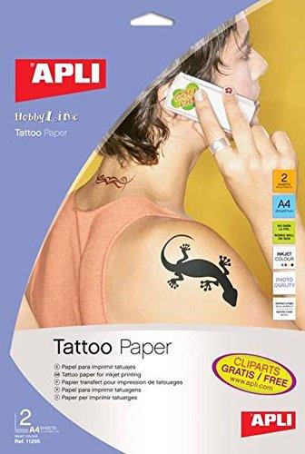 Apli 011295 2 Papier pour Tatouage, 210 x 297mm