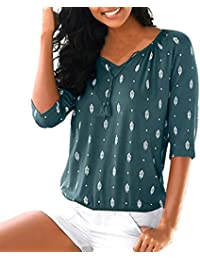 ❤️Blusa para Mujer Bohemia,Camiseta Superior de la Blusa Floja Ocasional de Las señoras
