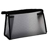 Layjjiyun Storage Tools, Home Storage, Travel Hand-to-Hand wash Bag, Storage Bag, Grid Transparent Storage Package Portable Cosmetic Bag Waterproof Washing Bag (Black)
