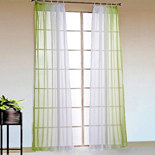 2er-Pack Verlauf-Farben Muster Voile Gardinen Schal Vorhänge mit Kräuselband, BxH 140x175cm, Grün