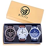 Rizzly Analog Black Dial Men's Watch Combo(Set of 3)