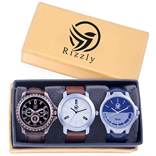 Rizzly Analog Black Dial Men\'s Watch Combo(Set of 3)