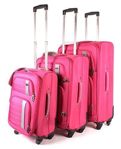 Rosa fucsia Aero Conjunto de 1000Series–Juego de 3maletas–Maleta con 4ruedas de viaje