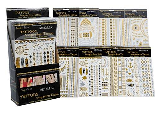 10 Arco Temporanei Tatuaggio Metallico Adesivo per la pelle una volta Corpo Gioielli Oro e Argento Accessori alla moda - Bellezza Arco