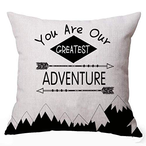 KLYDH Nordic Geometric Triangular Mountain Large Tree Holiday Camping You Are Our Greatest Adventure Decorative Home Office Throw Pillow Case Cushion Cover Square,Cover Size:18 x 18 Inch(45cm x 45cm) (Halloween-party Big Adventure)