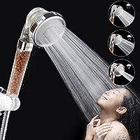 Pommeaux de douchette à haute pression et débit réduit, avec système de filtration et 3 modes de douche pour peaux sèches et cheveux par Mibote, transparent
