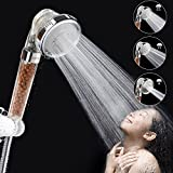Ionic Shower Head Handheld Filter Filtration Showerhead High Pressure Water Saving with 3-Way Shower Modes for Dry Skin & Hair By Mibote (Clear)