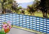 Balkonblende Windschutz Balkonumspannung 0,9x 5 m blau weiß