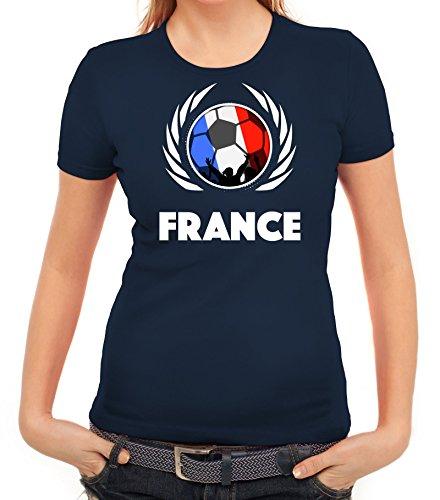 ShirtStreet France Wappen Soccer Fussball WM Fanfest Gruppen Fan Wappen Damen T-Shirt Fußball Frankreich Dunkelblau