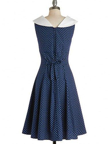 PU&PU Robe Aux femmes Vintage / Soirée , Points Polka Col Rond Claudine Mi-long Mélanges de Coton blue-s